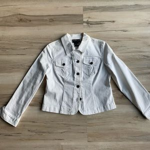 Style & Co Petite White Denim Jacket Small
